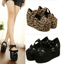 New Stylish Womens Buckle Lady Shoes Cute Cat Face Wedge Heel Platform Pumps N02