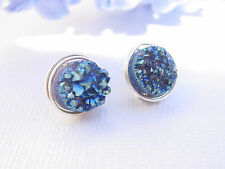 925 Sterling Silver Titanium Druzy Stud Earrings Handmade Wire Wrapped US Seller
