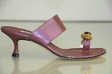 New MANOLO BLAHNIK Zionima Jeweled Purple Python SANDALS SHOES Kitten Heels 37