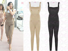 WOMENS LADIES CELEB KYLIE JENNER PINAFORE STRAP BUTTON DUNGAREE JUMPSUIT DRESS