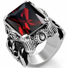 Red Princess CZ Black Silver Dragon Claw Mens Stainless Steel Fleur de Lis Ring