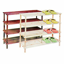WOODEN NATURAL MAHOGANY 2 3 4 TIER BOOTS SHOE RACK STAND HOLDER ORGANISER SHELF