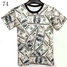 Rich POP Men Women Full of Dollars Bill 3D  Graphic Short Sleeve Tee T Shirt Top