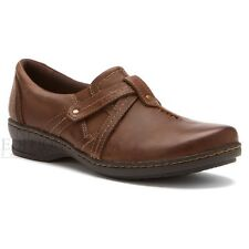 Clarks Ideo Chilly Women's Full Grain Leather Slip On Shoes Style 66545 Brown