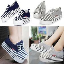 Womens Girls Stripe Platform Shoes Lace-up Cusual Canvas Fashion Sneakers