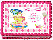 TEA PARTY CUPS AND PLATES SET Edible image  Cake topper