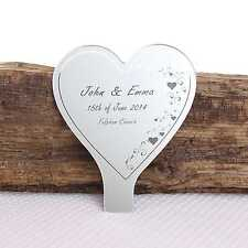 Personalised Heart Swirl Engraved Mirror Wedding or Anniversary Cake Topper