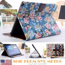 ID CARD Wallet Flower Case Cover For Samsung Galaxy Note 10.1 2014 Edition P600