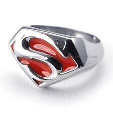 Men's Jewelry 316L Stainless Steel Titanium Red Enamel Super Man S Ring G073381