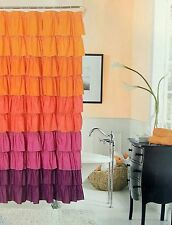 Flamenco Tiered Ruffled Fabric Shower Curtains 70x72