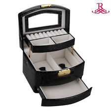 BLACK Jewelry Box Case Watch Display Organizer Gift Box Faux Leather ZG096