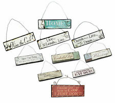 NEW Heaven Sends SMALL WOOD HANGING WALL PLAQUE Sign Retro Shabby Chic Kiss Cook