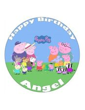 """7.5"""" 19cm PEPPA PIG PERSONALISED WAFER/FONDANT PAPER CAKE TOPPER"""