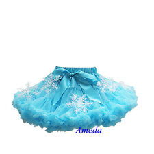 Girls Turquoise Blue Pettiskirt Snowflake Tutu Elsa Princess Skirt Costume 1-10Y