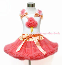 White Tank Top Coral Rosettes Ice Cream Coral Tangerine Girl Pettiskirt 1-8Year