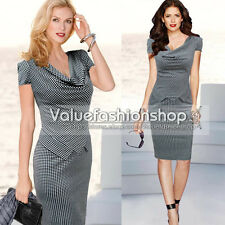 Womens Vintage Houndstooth Drape Neck Peplum Party Wear To Work Sheath Dress 487