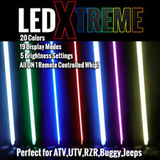 LED Lighted Whip - 20 Colors on One 6' Whip with Flag - ATV UTV RZR Quad