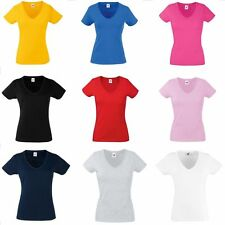 V-neck t-shirt ladies fitted tee Fruit of the loom womens slim fitting fit New