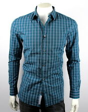 Armani Exchange A|X Men's Optic-minded Plaid Check Poplin Button Up Shirt/Top