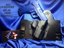 IWB LEATHER KYDEX HOLSTER Conceal Carry hybrid gun HOLSTER black leather