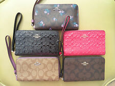 COACH Signature Leather Phone Wallet Wristlet iPhone 7 6 5 Case Clutch 57469 NEW