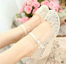 Lady Soft Jelly Rubber Floral Round Toe Wedge Heel Sandal Mary Jane Summer Shoes