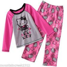 NWT Girls Hello Kitty Lace Graphic Pajamas PJ's Sleep Set Pink Size 8 NEW