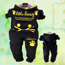 Toddler Boy 2PC Outfit Sets Sport Style Cat Pullover Hoodie Size 1-4 years Old!.