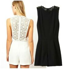 Sexy Womens Back Lace Sleeveless Shorts Jumpsuit Pants 2 Color