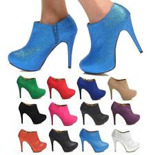 HIGH HEEL ANKLE STILETTO SHOE BOOTS LADIES PARTY GLITTER SUEDE LEATHER