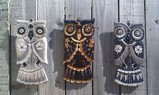 Fair Trade Hand Carved Made Wooden Wood Shabby Owl Bird Wall Art Hanging Plaque