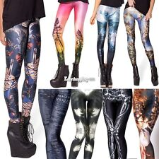 Women's Stretch High Waist Leggings Pants Galaxy Space Tights Fadeless Lady Es9P