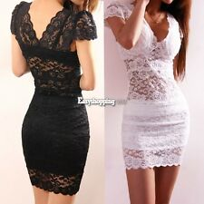 Women Sexy Lace Hollow Slim Bodycon Mini V-Neck Perspective Party Cocktail Dress