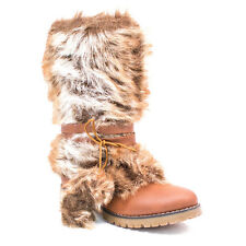 NIB Womens Refresh Black & Tan Warm Winter Snow Stylish Boots W/ Fur Hunter-01