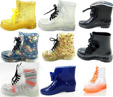 Women's Rain Boots Color Lace Up Clear Waterproof Transparent Jelly Shoe Sz 6-12