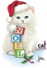 Christmas Cat Shirt, Kitty in Santa Hat with Noel blocks, X-Mas gifts cat person