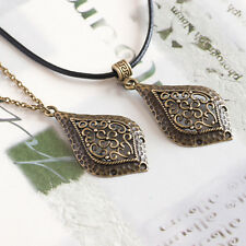 Retro Vintage Bronze Engraved Drop Pendant Necklace, 2 Chains to Choose From
