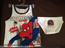 boys underpants pants & vest set spiderman white red & blue holidays holiday