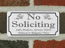 "Engraved 3"" x 6"" NO SOLICITING etc. - Home/Business Door Sign FREE SHIPPING"
