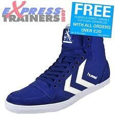 Hummel Mens Slimmer Stadil High Retro Canvas Hi Top Trainers Blue * AUTHENTIC *