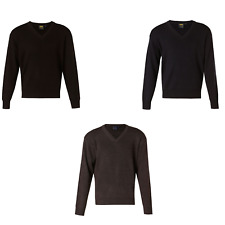 NEW MENS V NECK WOOL KNIT JUMPER WORK BUSINESS FORMAL CASUAL DRESS BLACK SWEATER