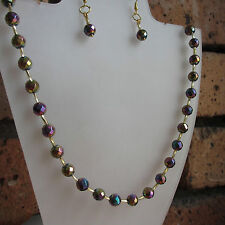 """HANDMADE FACETED RAINBOW HEMATITE NECKLACE & MATCHING EARRINGS - FITS UP TO 20"""""""