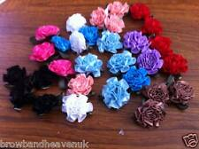 "1"" Cabbage Ribbon Roses x 4 with leaves.   Various colours available. Brand New."