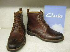 Clarks Montacute Lord Dark Tan Leather Formal Brogue Lace Up Ankle Boots