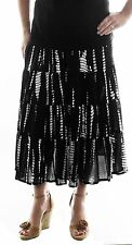 We Be Bop Plus Size 6X Chai Latte Crinkle Gauze Tie Dyed Black Tiered Skirt