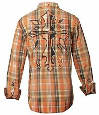 NWT'S Brand New Mens ROAR WOVEN Shirt ENCODE in Orange/Blue Button Up! Size Med