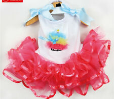 2014 Spring Summer Colorful Cake Dog Bubble Dress Skirt Dog clothing Clothes Red