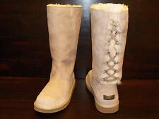 New Womens UGG ROSEBERRY Sand Lace Up Back Sheepskin Suede Boots 5734