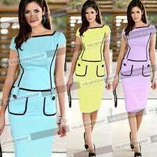 Womens Celeb Vintage Stretch Fitted Bodycon Party Work Sheath Pencil Dress 755