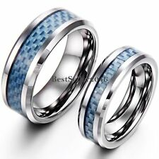 Blue Carbon Fiber Hand Woven Tungsten Carbide Couples Engagement Wedding Band